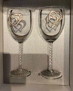 coupe de vin 2 coeur vide